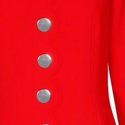 caroline biss red dress detail